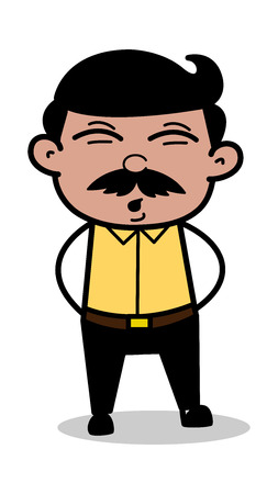 Whistling - Indian Cartoon Man Father Vector Illustration