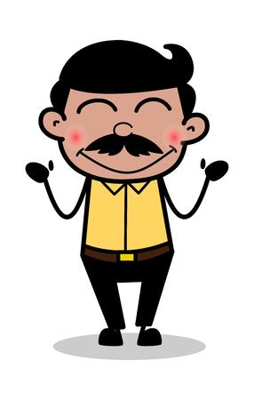 Blushing - Indian Cartoon Man Father Vector Illustration