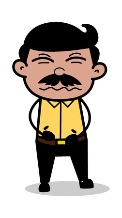 Belly-Ache - Indian Cartoon Man Father Vector Illustration Illustration