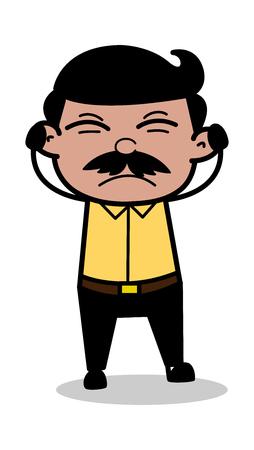 Getting Irritated - Indian Cartoon Man Father Vector Illustration Stock Illustratie
