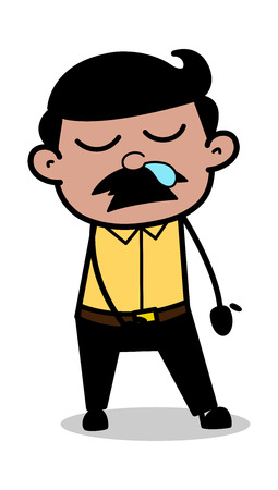 Sleepy Face with Running Nose - Indian Cartoon Man Father Vector Illustration Ilustração