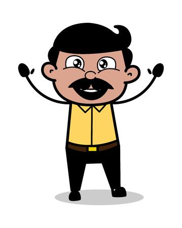 Raising Hands - Indian Cartoon Man Father Vector Illustration