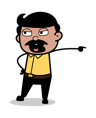 Get Out - Indian Cartoon Man Father Vector Illustration