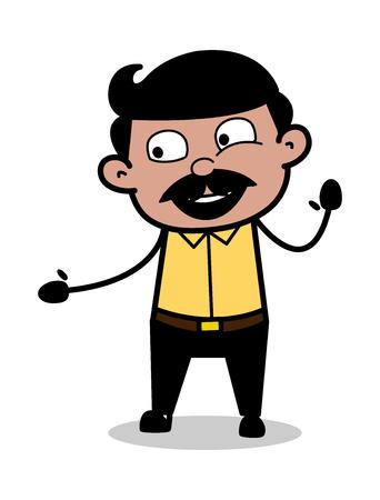 Helping Hand - Indian Cartoon Man Father Vector Illustration