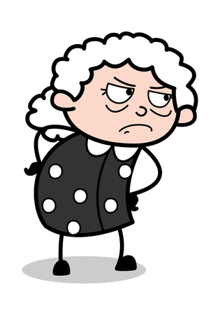 Watching in Aggression - Old Cartoon Granny Vector Illustration