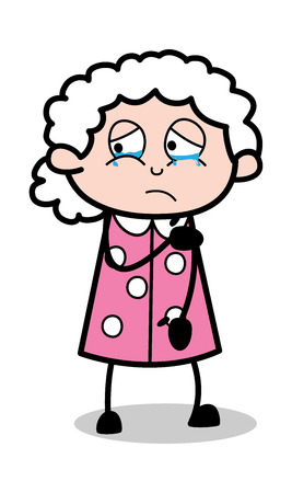 Hurt and Crying- Old Cartoon Granny Vector Illustration