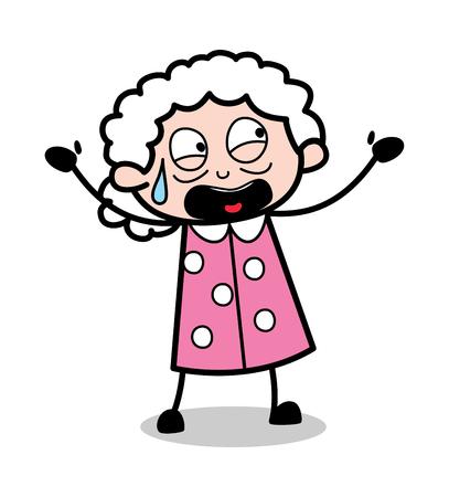Yelling - Old Cartoon Granny Vector Illustration
