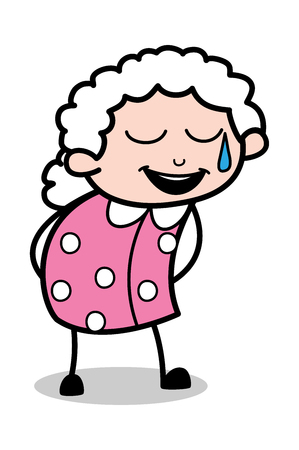 Laughing Expression - Old Cartoon Granny Vector Illustration