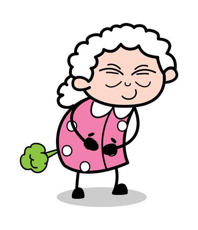 Fart - Old Cartoon Granny Vector Illustration Illustration