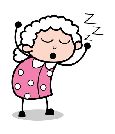 Relax - Old Cartoon Granny Vector Illustration Ilustração