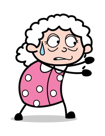 Holding Gesture - Old Cartoon Granny Vector Illustration