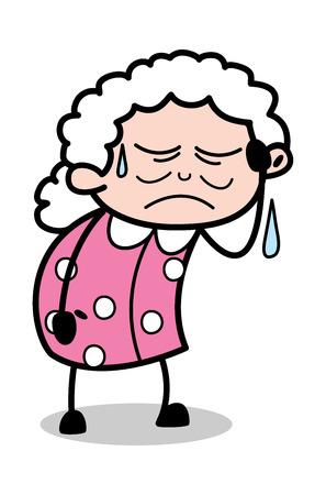 Sweating - Old Cartoon Granny Vector Illustration