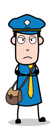 Disappointed - Postman Cartoon Courier Guy Vector Illustration Illustration