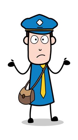 Showing Empty Hands - Postman Cartoon Courier Guy Vector Illustration Ilustração