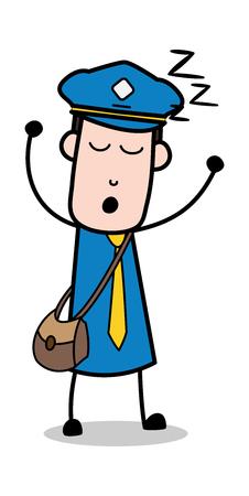 Lazy - Postman Cartoon Courier Guy Vector Illustration