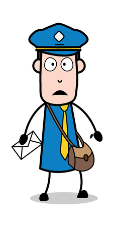 Shocked - Postman Cartoon Courier Guy Vector Illustration