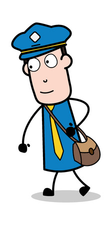 Going to Office in Hurry - Postman Cartoon Courier Guy Vector Illustration