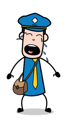 Crying Loudly - Postman Cartoon Courier Guy Vector Illustration Illustration