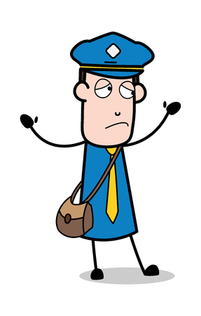 Hands Up with Upset Face - Postman Cartoon Courier Guy Vector Illustration