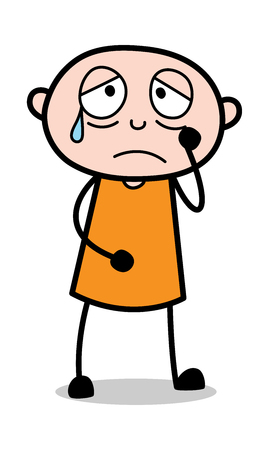 Depressed face Expression - Cartoon thief criminal Guy Vector Illustration Ilustração