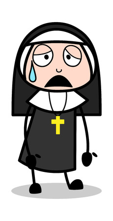 Tired - Cartoon Nun Lady Vector Illustration