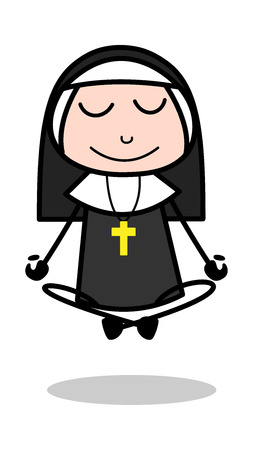Yoga - Cartoon Nun Lady Vector Illustration Ilustracja