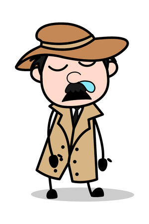 Détente - Retro Cartoon Police Agent Detective Vector Illustration