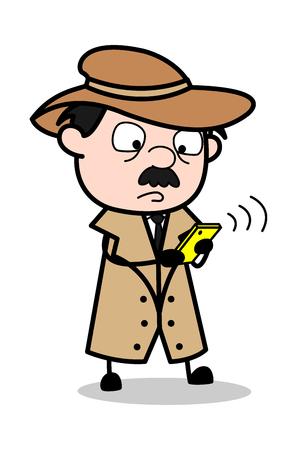 Calling - Retro Cartoon Police Agent Detective Vector Illustration