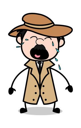 Crying - Retro Cartoon Police Agent Detective Vector Illustration Illustration