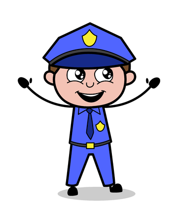Excited - Retro Cop Policeman Vector Illustration
