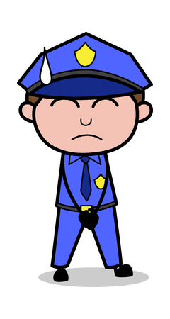 Standing with Close Eyes - Retro Cop Policeman Vector Illustration Illustration
