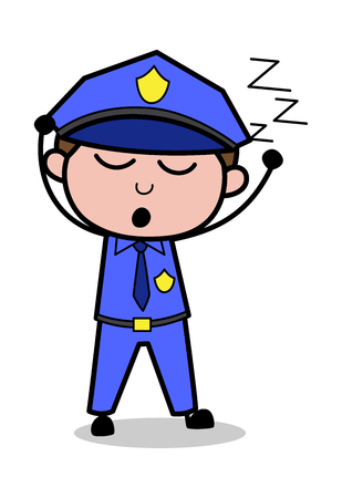 Sleepy - Retro Cop Policeman Vector Illustration