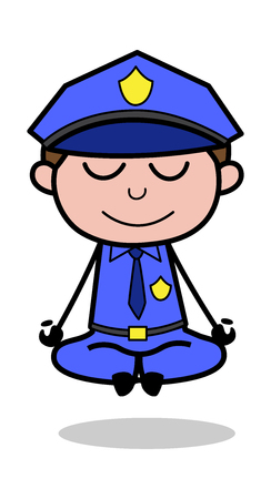 Meditation - Retro Cop Policeman Vector Illustration