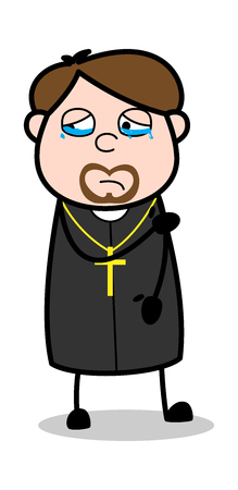 Crying Face - Cartoon Priest Religious Vector Illustration