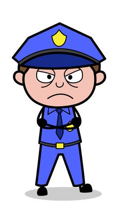 Wütende Stimmung - Retro-Cop-Polizist-Vektor-Illustration