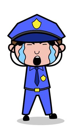 Tearful Eyes - Retro Cop Policeman Vector Illustration