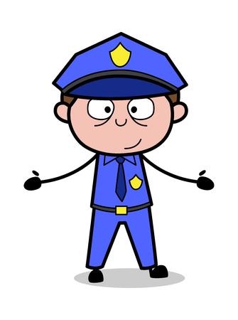 Showing Empty Hands - Retro Cop Policeman Vector Illustration Ilustración de vector