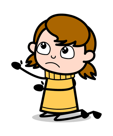 Begging - Retro Cartoon Girl Teen Vector Illustration