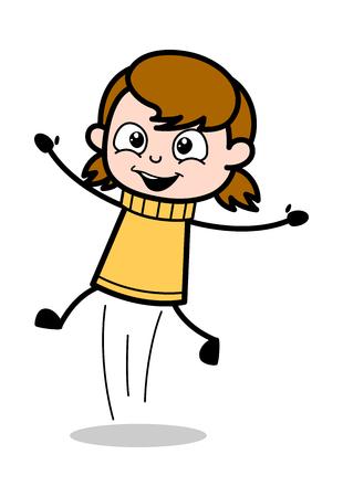 Jumping in Excitement - Retro Cartoon Girl Teen Vector Illustration