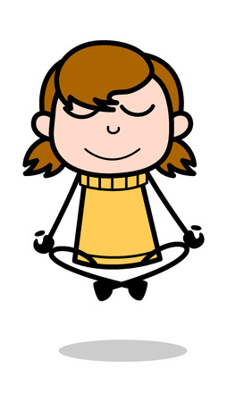 Meditation - Retro Cartoon Girl Teen Vector Illustration Çizim