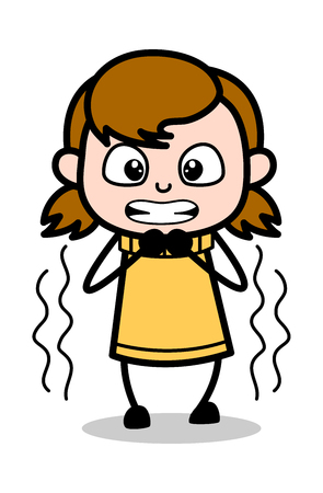 Scared - Retro Cartoon Girl Teen Vector Illustration