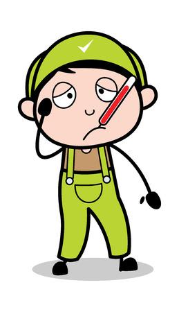 Unwell - Retro Repairman Cartoon Worker Vector Illustration Illustration