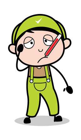Unwell - Retro Repairman Cartoon Worker Vector Illustration Иллюстрация
