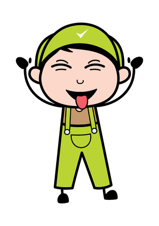 Teasing with Tongue Out - Retro Repairman Cartoon Worker Vector Illustration Ilustrace