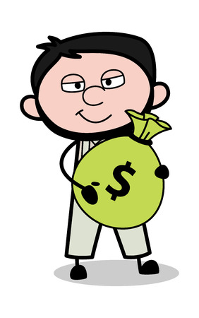 Holding a Sack of Money - Retro Repairman Cartoon Worker Vector Illustration  イラスト・ベクター素材