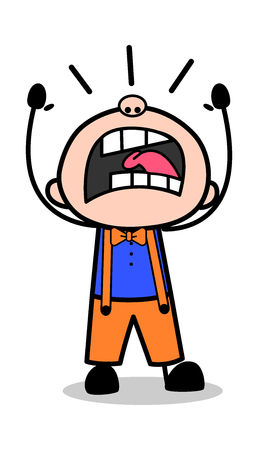 Yelling - Retro Cartoon Carpenter Worker Vector Illustration