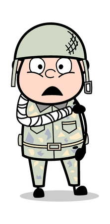 Fractured Hand - Cute Army Man Cartoon Soldier Vector Illustration  イラスト・ベクター素材