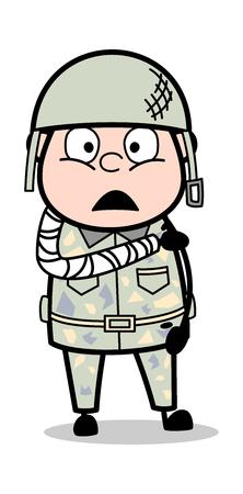 Main fracturée - Illustration vectorielle de soldat de dessin animé mignon armée homme