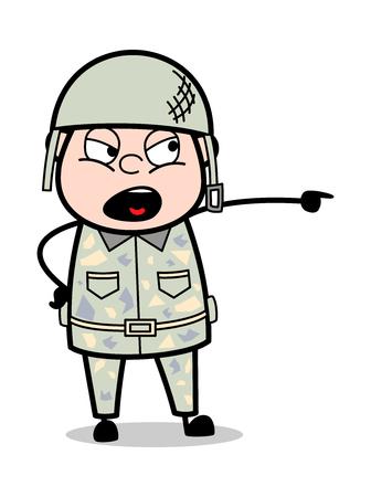 Schimpfende Geste - niedliche Armee-Mann-Karikatur-Soldat-Vektor-Illustration Vektorgrafik