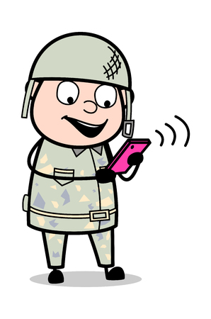 Communicating Through Mobile - Cute Army Man Cartoon Soldier Vector Illustration
